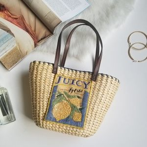 Woven Lemon Fresh Embroidered Mini Handbag